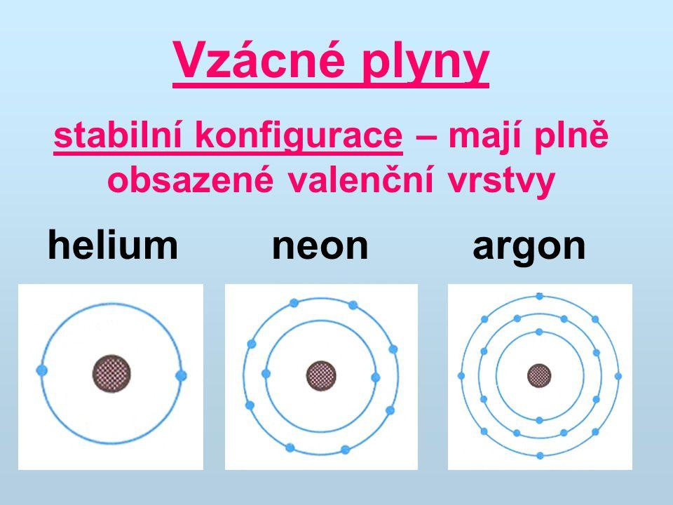 stabilní konfigurace – mají plně obsazené valenční vrstvy