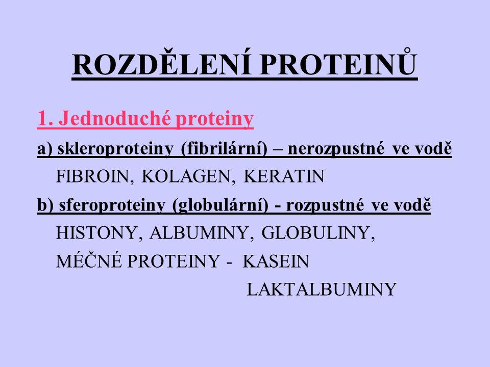ROZDĚLENÍ PROTEINŮ 1. Jednoduché proteiny