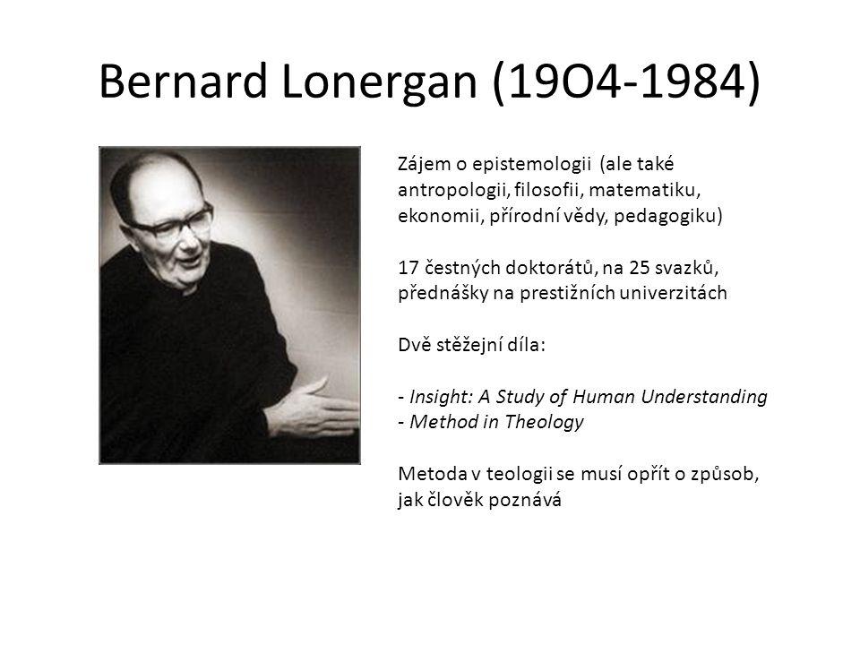 Bernard Lonergan (19O4-1984) Zájem o epistemologii (ale také antropologii, filosofii, matematiku, ekonomii, přírodní vědy, pedagogiku)