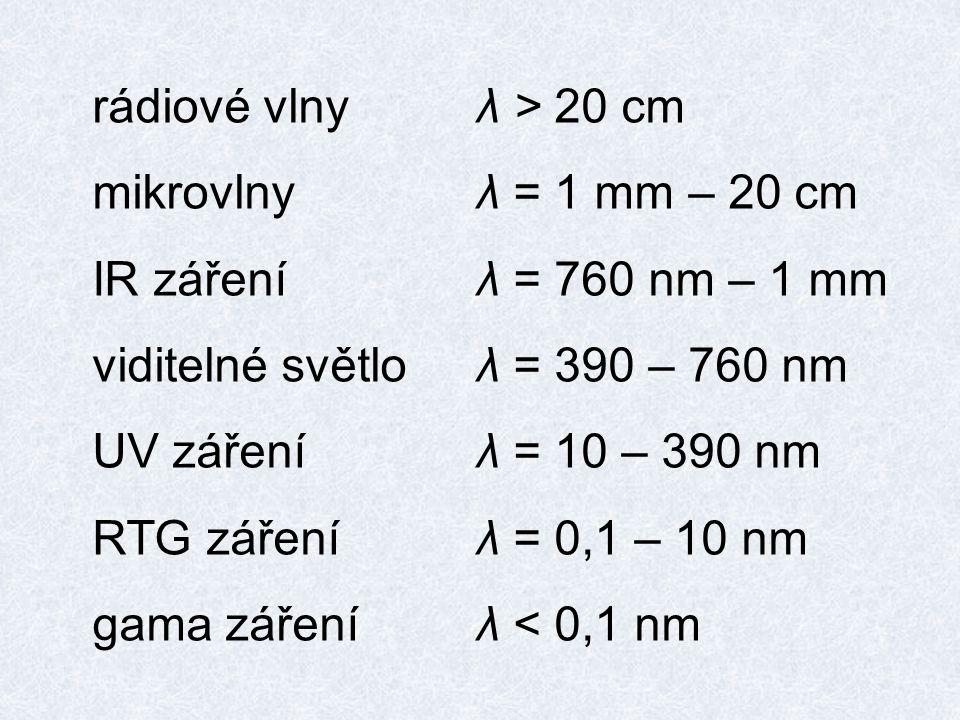 rádiové vlny λ > 20 cm mikrovlny λ = 1 mm – 20 cm. IR záření λ = 760 nm – 1 mm. viditelné světlo λ = 390 – 760 nm.