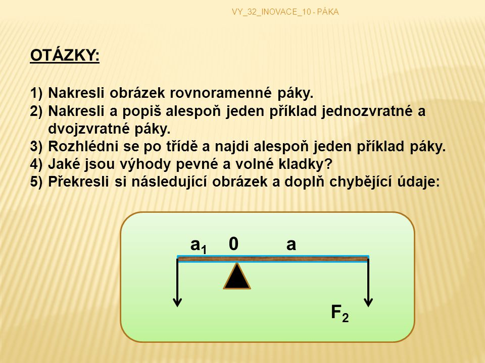 F2 OTÁZKY: Nakresli obrázek rovnoramenné páky.