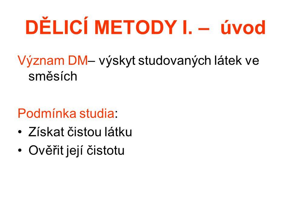 DĚLICÍ METODY I. – úvod Význam DM– výskyt studovaných látek ve směsích