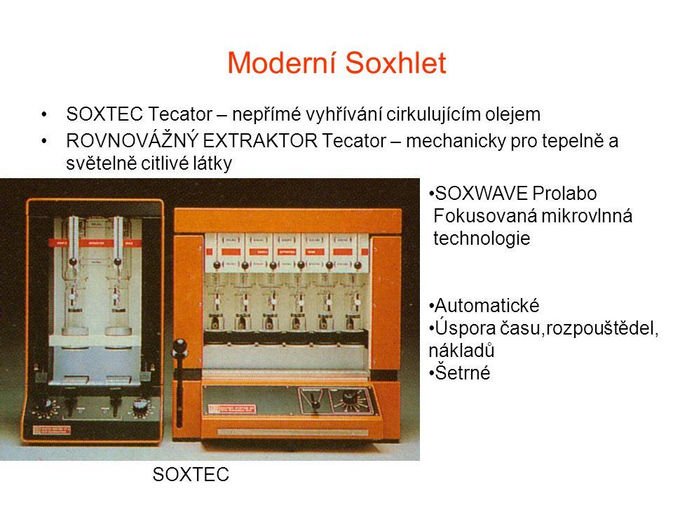 Moderní Soxhlet SOXTEC Tecator – nepřímé vyhřívání cirkulujícím olejem
