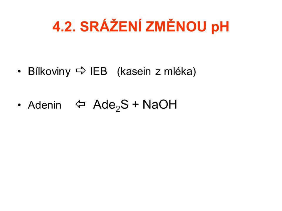 4.2. SRÁŽENÍ ZMĚNOU pH Bílkoviny  IEB (kasein z mléka)