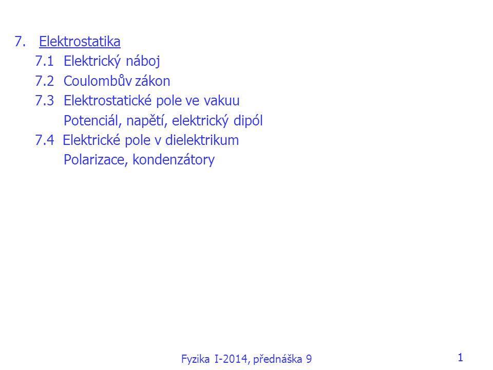 7.3 Elektrostatické pole ve vakuu Potenciál, napětí, elektrický dipól