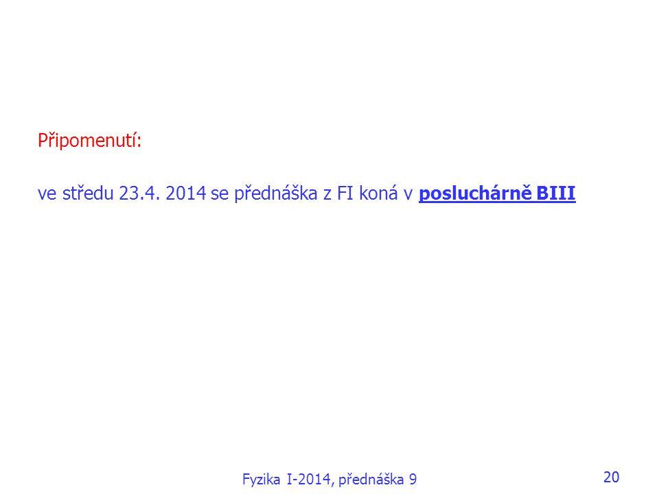 ve středu 23.4. 2014 se přednáška z FI koná v posluchárně BIII