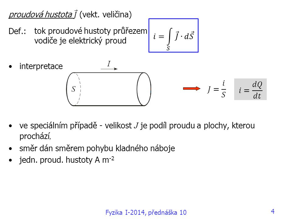 proudová hustota 𝐽 (vekt. veličina) Def.: