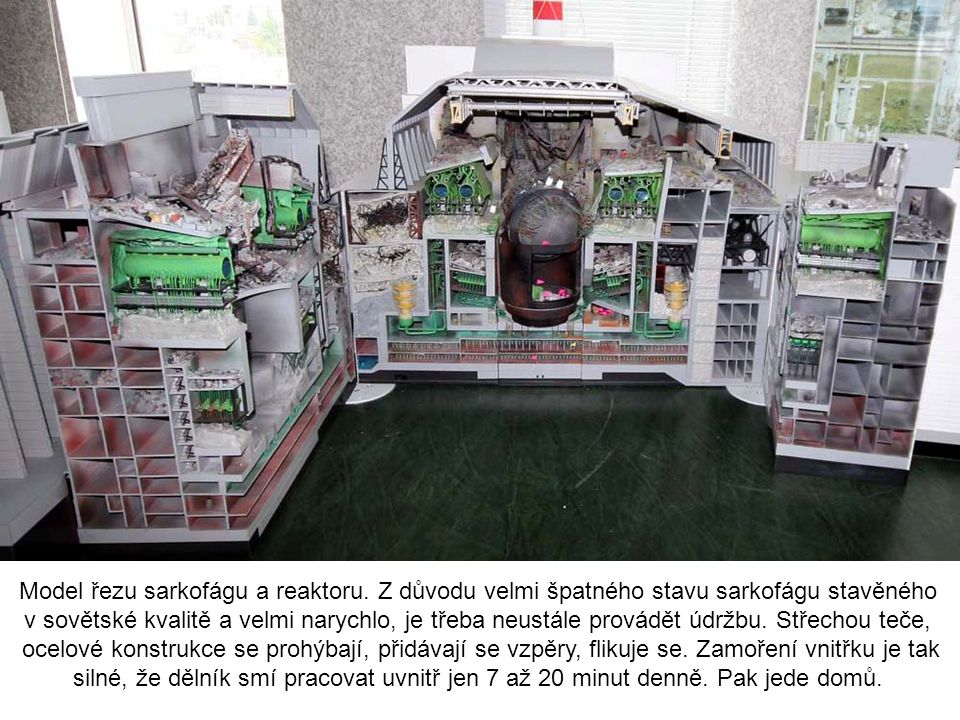 Model řezu sarkofágu a reaktoru