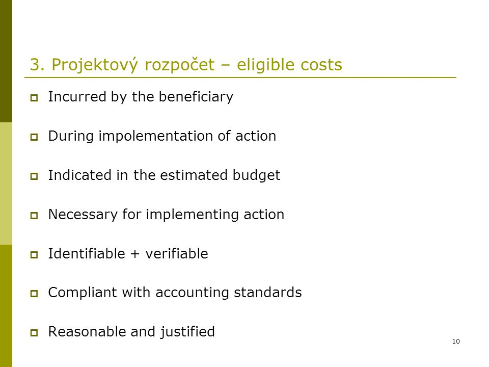 3. Projektový rozpočet – eligible costs