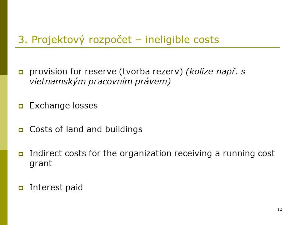 3. Projektový rozpočet – ineligible costs