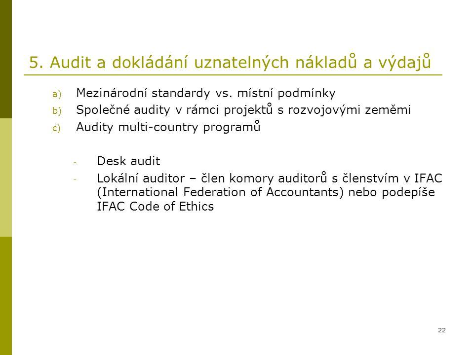 5. Audit a dokládání uznatelných nákladů a výdajů