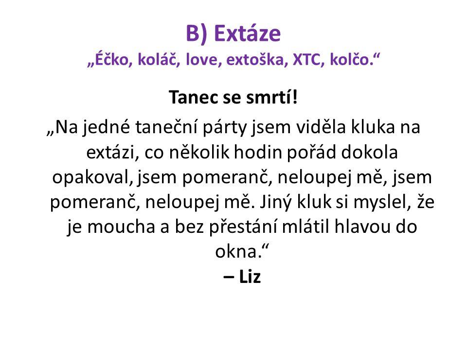 """B) Extáze """"Éčko, koláč, love, extoška, XTC, kolčo."""