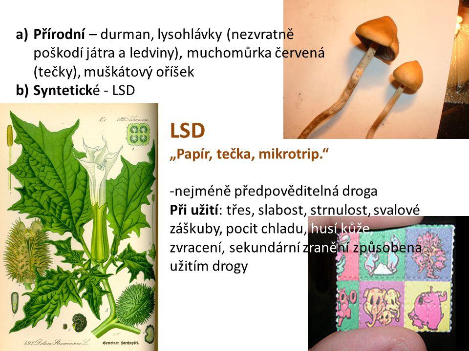 Přírodní – durman, lysohlávky (nezvratně poškodí játra a ledviny), muchomůrka červená (tečky), muškátový oříšek