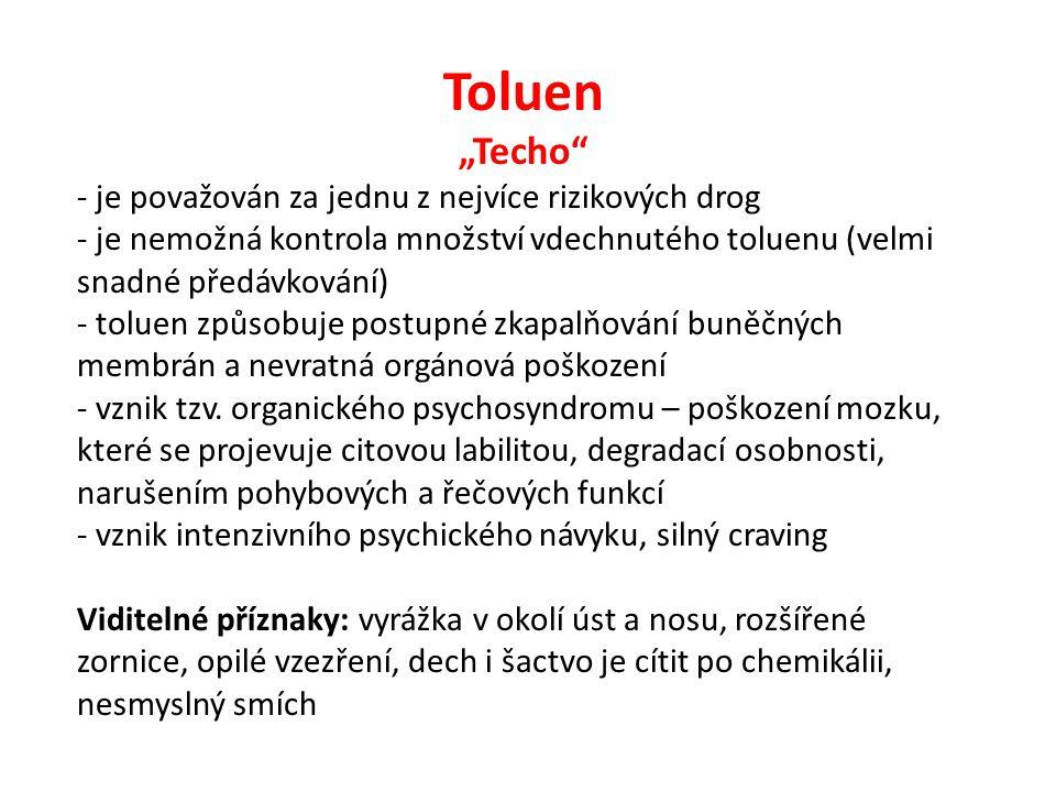 """Toluen """"Techo je považován za jednu z nejvíce rizikových drog"""