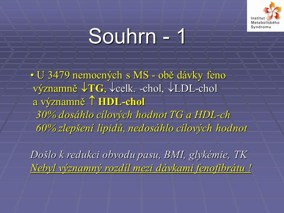 Souhrn - 1 U 3479 nemocných s MS - obě dávky feno