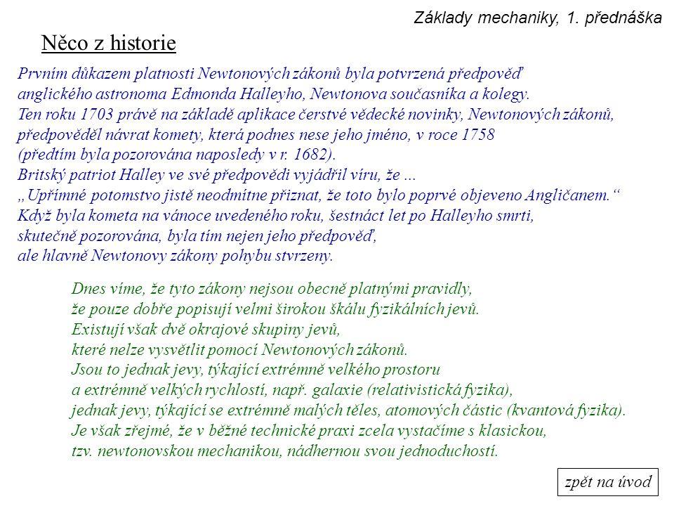 Něco z historie Základy mechaniky, 1. přednáška