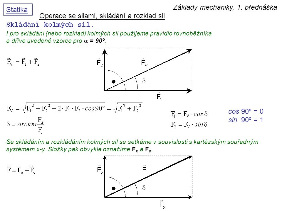Základy mechaniky, 1. přednáška Statika