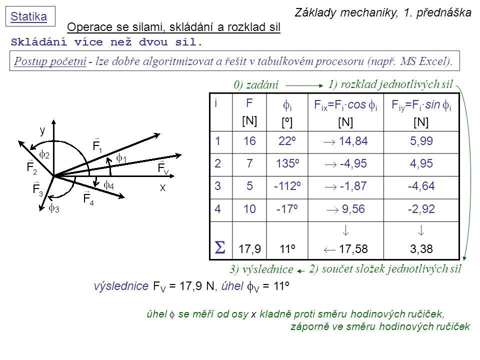 S fi Základy mechaniky, 1. přednáška Statika