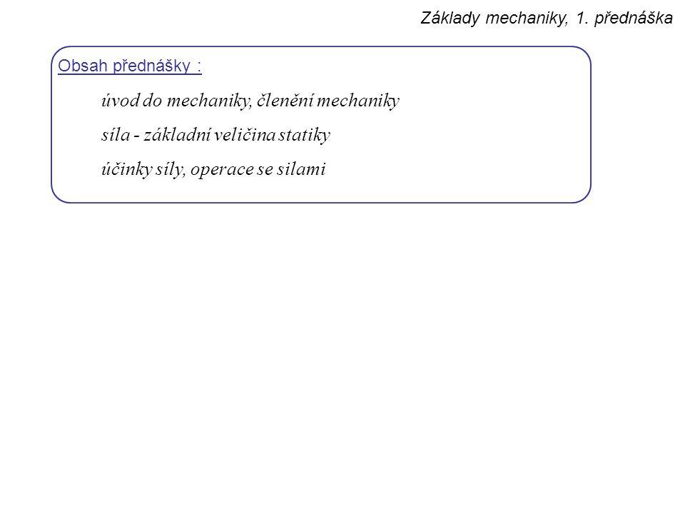 úvod do mechaniky, členění mechaniky síla - základní veličina statiky
