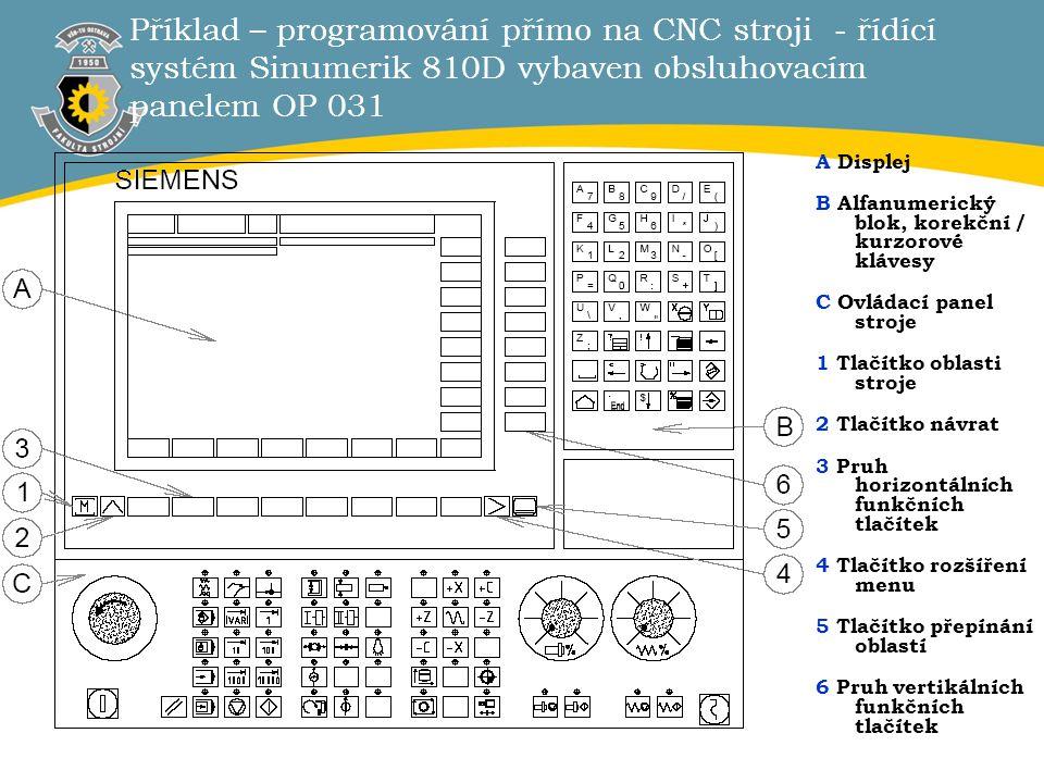 Příklad – programování přímo na CNC stroji - řídící systém Sinumerik 810D vybaven obsluhovacím panelem OP 031