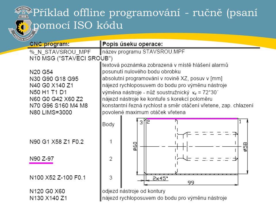 Příklad offline programování - ručně (psaní pomocí ISO kódu