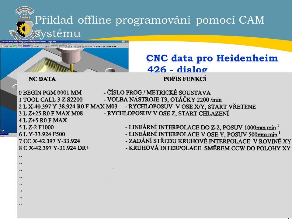 Příklad offline programování pomocí CAM systému