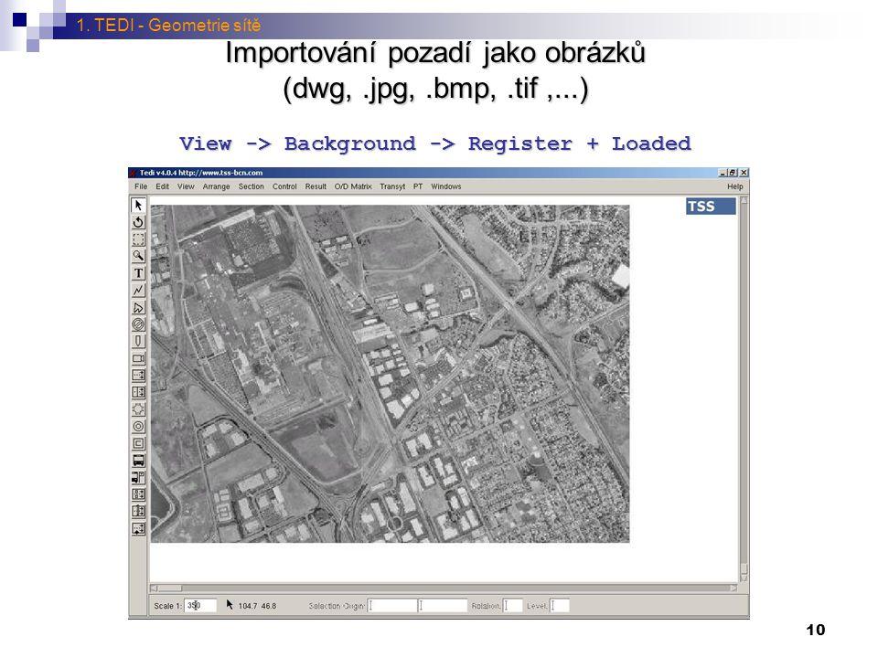 1. TEDI - Geometrie sítě Importování pozadí jako obrázků (dwg, .jpg, .bmp, .tif ,...) View -> Background -> Register + Loaded.