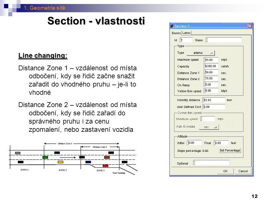 Section - vlastnosti Line changing: