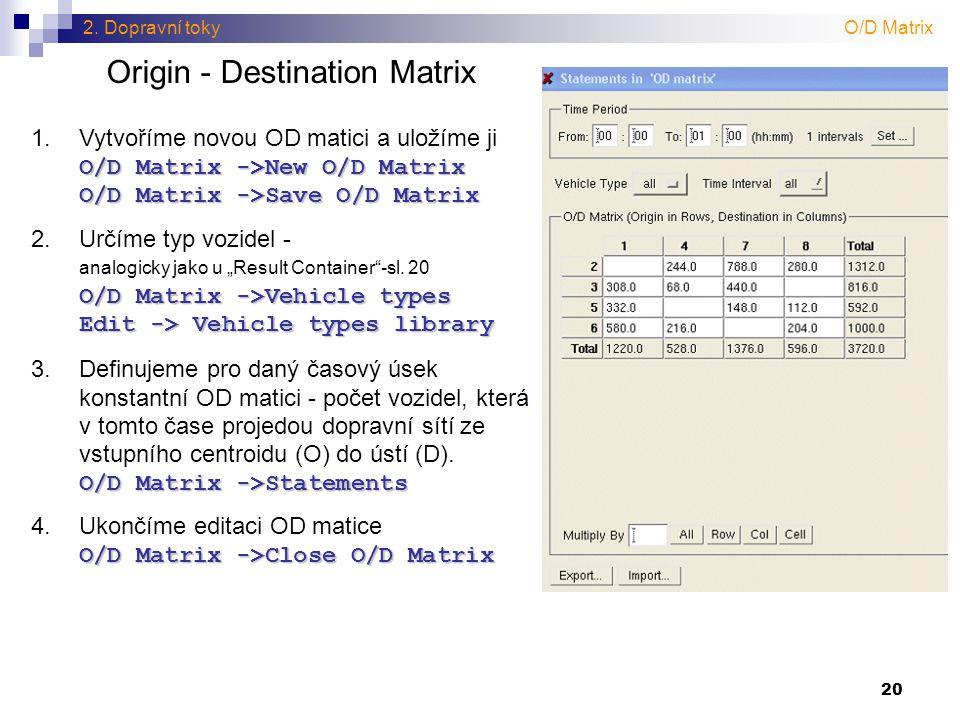 Origin - Destination Matrix