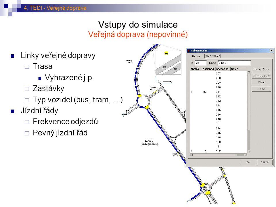 Vstupy do simulace Veřejná doprava (nepovinné)