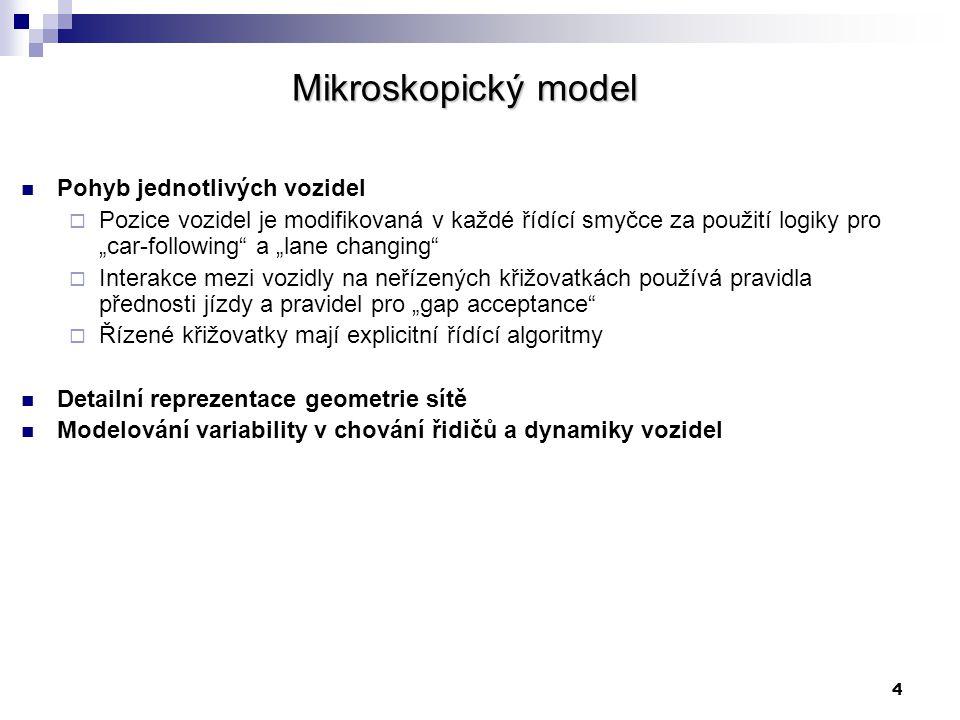 Mikroskopický model Pohyb jednotlivých vozidel