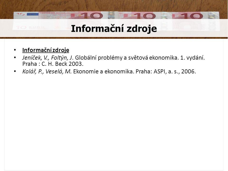 Informační zdroje Informační zdroje