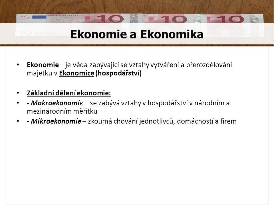 Ekonomie a Ekonomika Ekonomie – je věda zabývající se vztahy vytváření a přerozdělování majetku v Ekonomice (hospodářství)