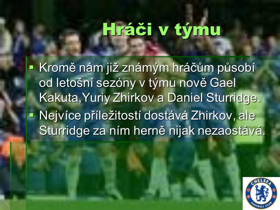 Hráči v týmu Kromě nám již známým hráčům působí od letošní sezóny v týmu nově Gael Kakuta,Yuriy Zhirkov a Daniel Sturridge.