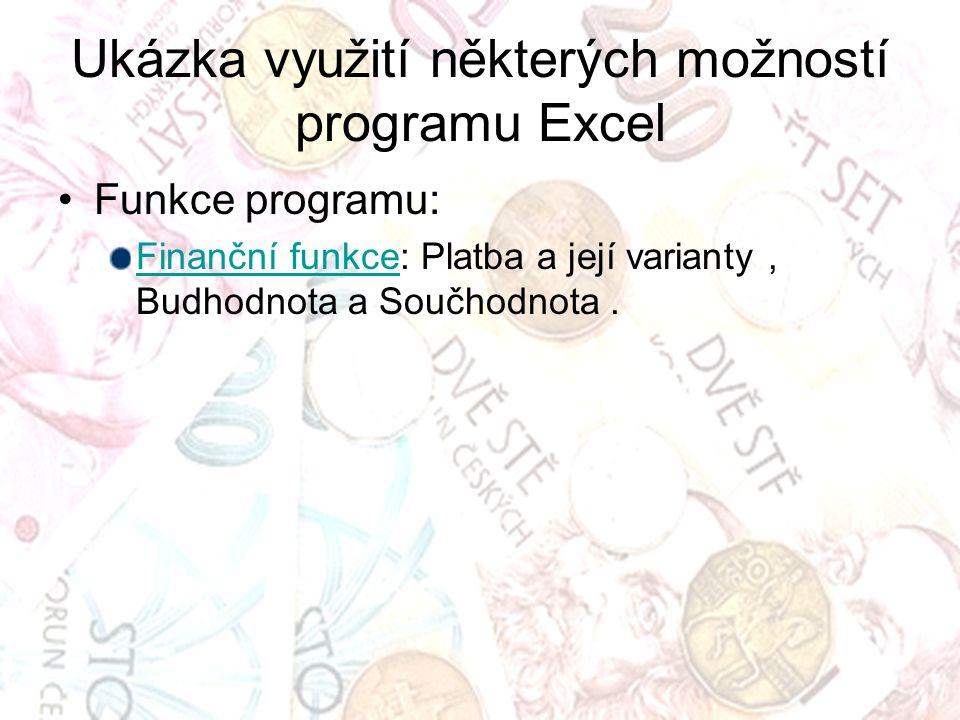Ukázka využití některých možností programu Excel