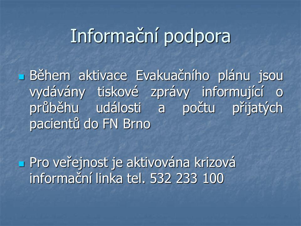 Informační podpora Během aktivace Evakuačního plánu jsou vydávány tiskové zprávy informující o průběhu události a počtu přijatých pacientů do FN Brno.