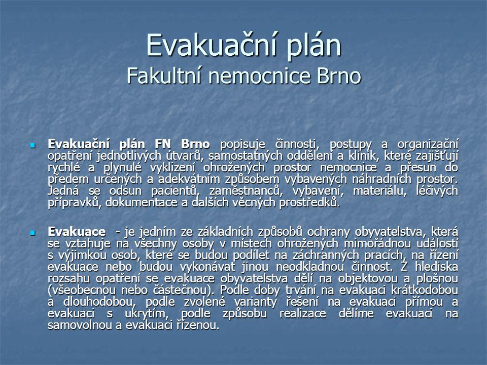 Evakuační plán Fakultní nemocnice Brno