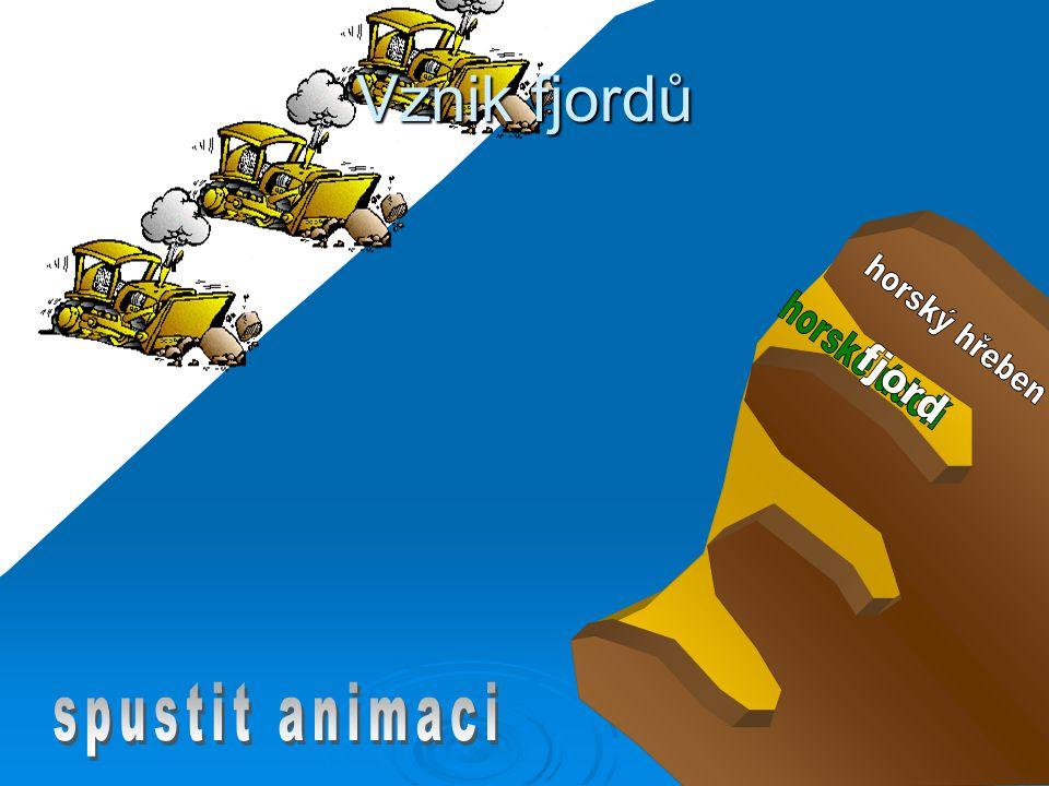 Vznik fjordů horský hřeben horské údolí fjord spustit animaci