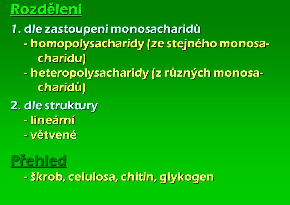 Rozdělení 1. dle zastoupení monosacharidů