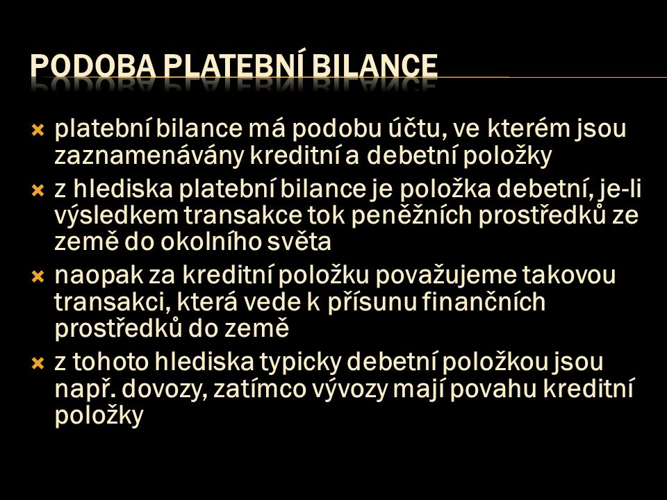 podoba platební bilance