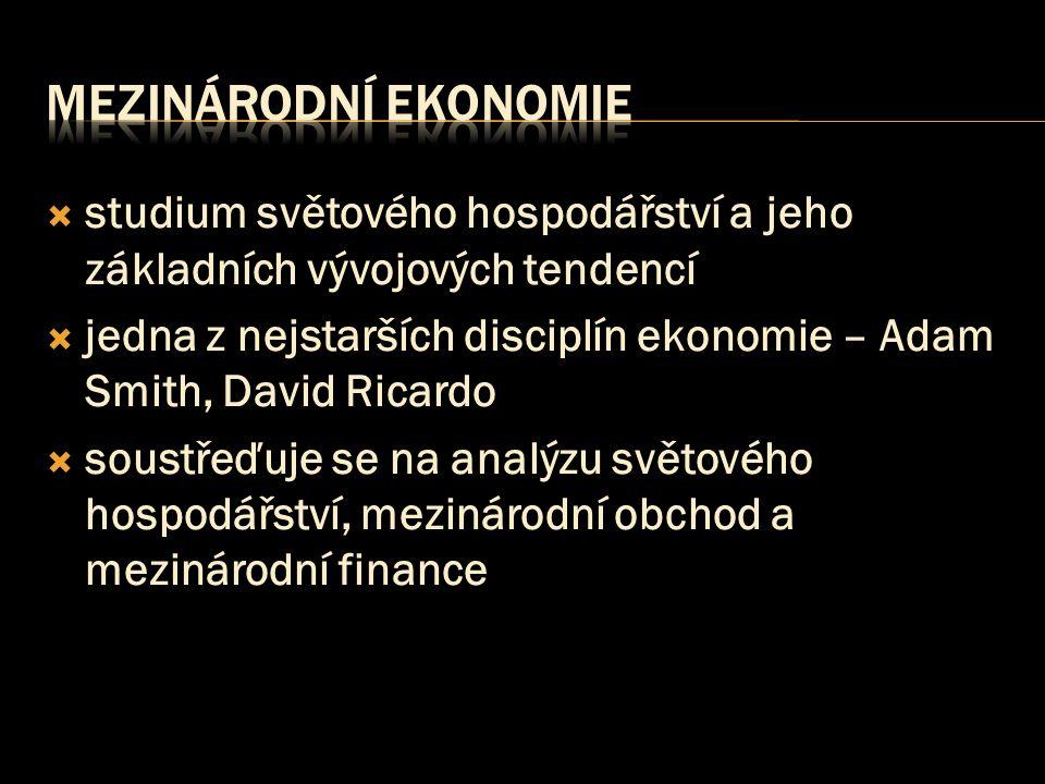 Mezinárodní ekonomie studium světového hospodářství a jeho základních vývojových tendencí.