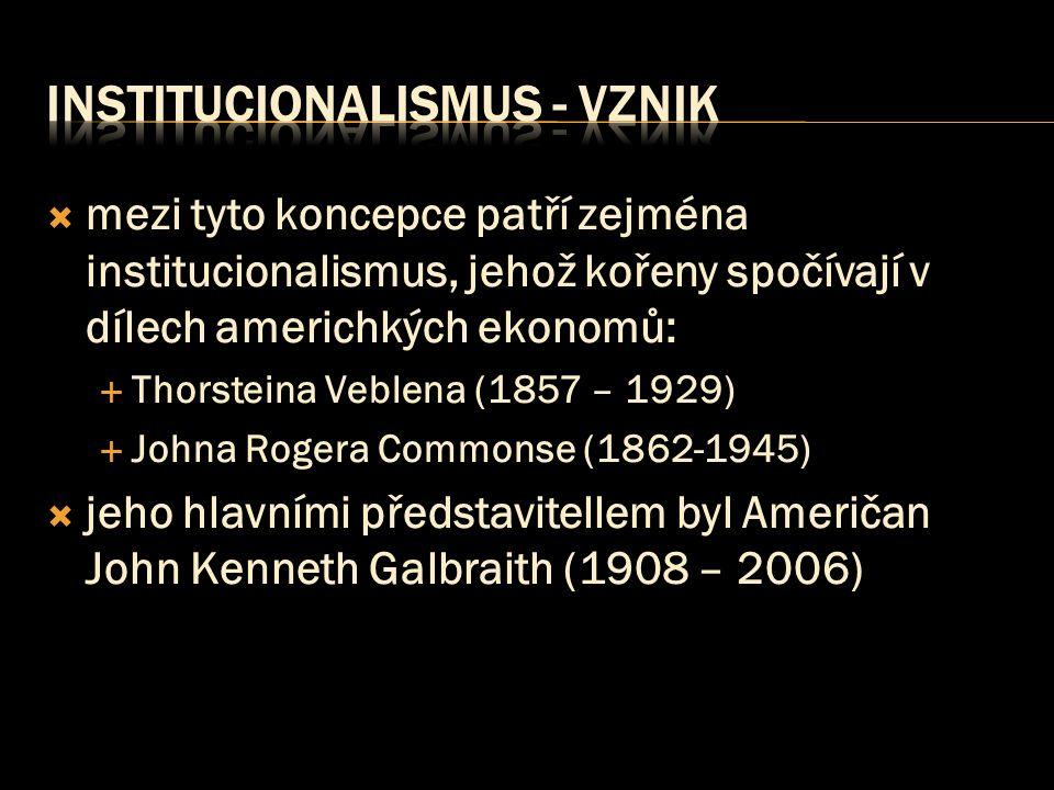 Institucionalismus - vznik