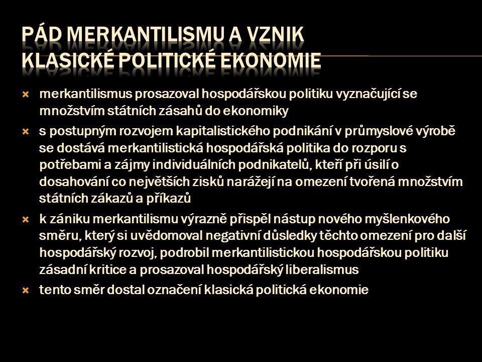 Pád merkantilismu a vznik klasické politické ekonomie