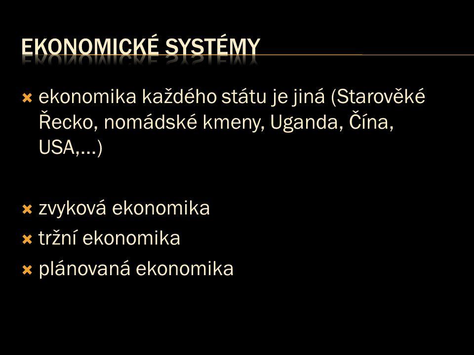 Ekonomické systémy ekonomika každého státu je jiná (Starověké Řecko, nomádské kmeny, Uganda, Čína, USA,...)