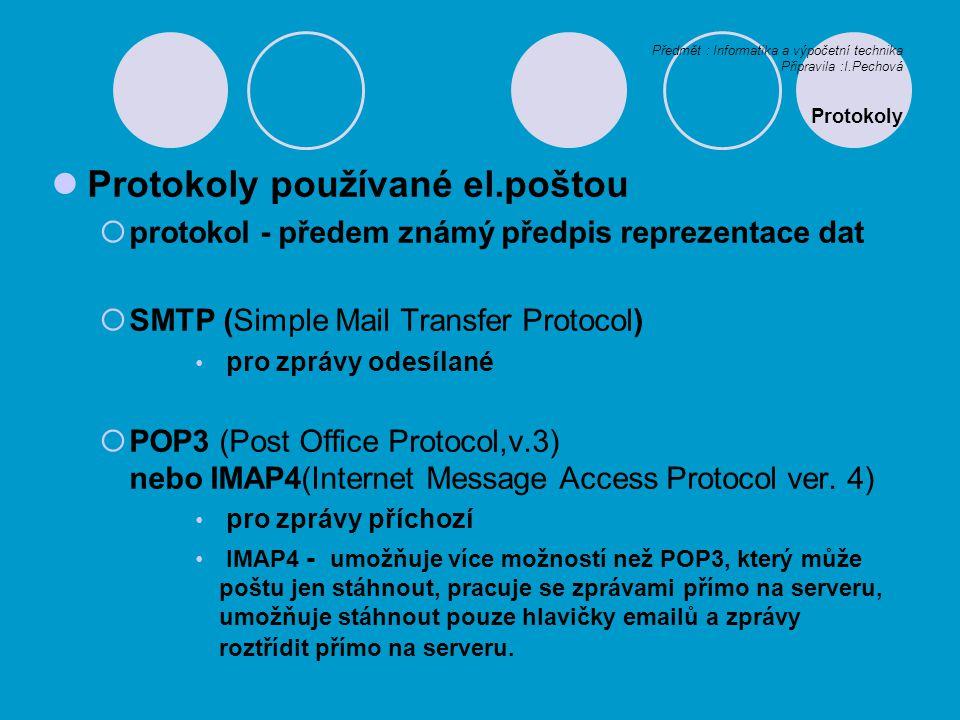 Protokoly používané el.poštou