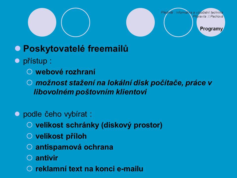 Poskytovatelé freemailů