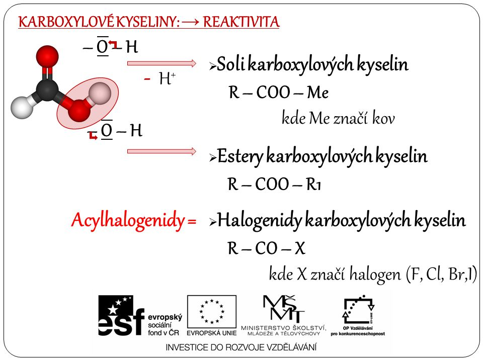 - H+ Acylhalogenidy = – O – H R – COO – Me kde Me značí kov – O – H