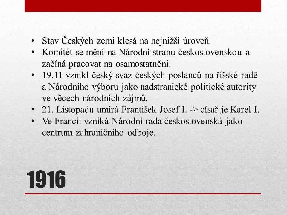 1916 Stav Českých zemí klesá na nejnižší úroveň.