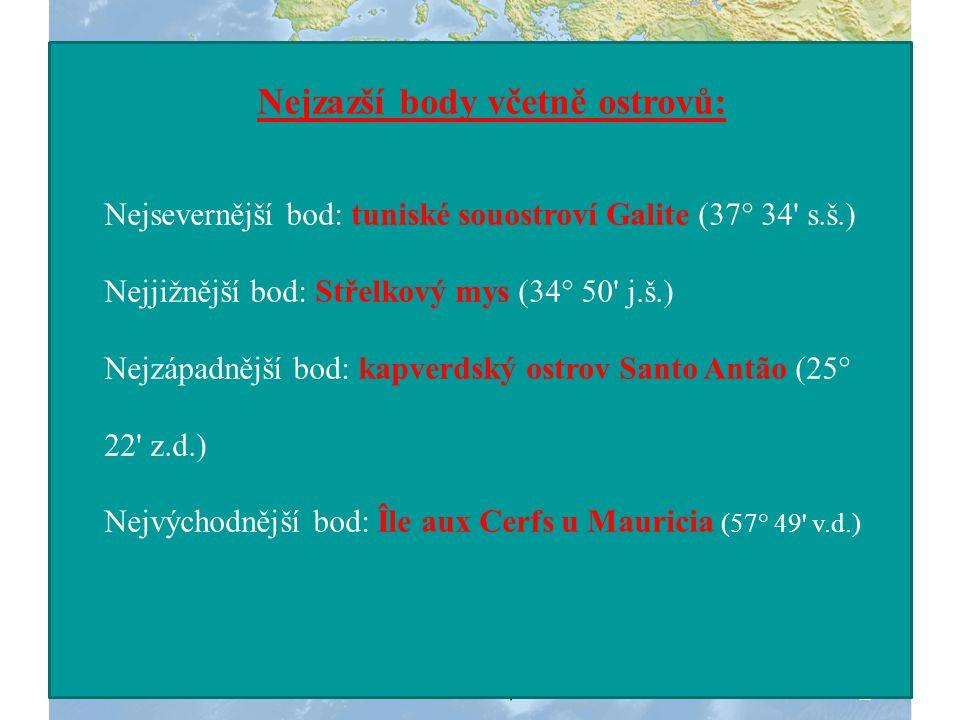 Nejzazší body včetně ostrovů: