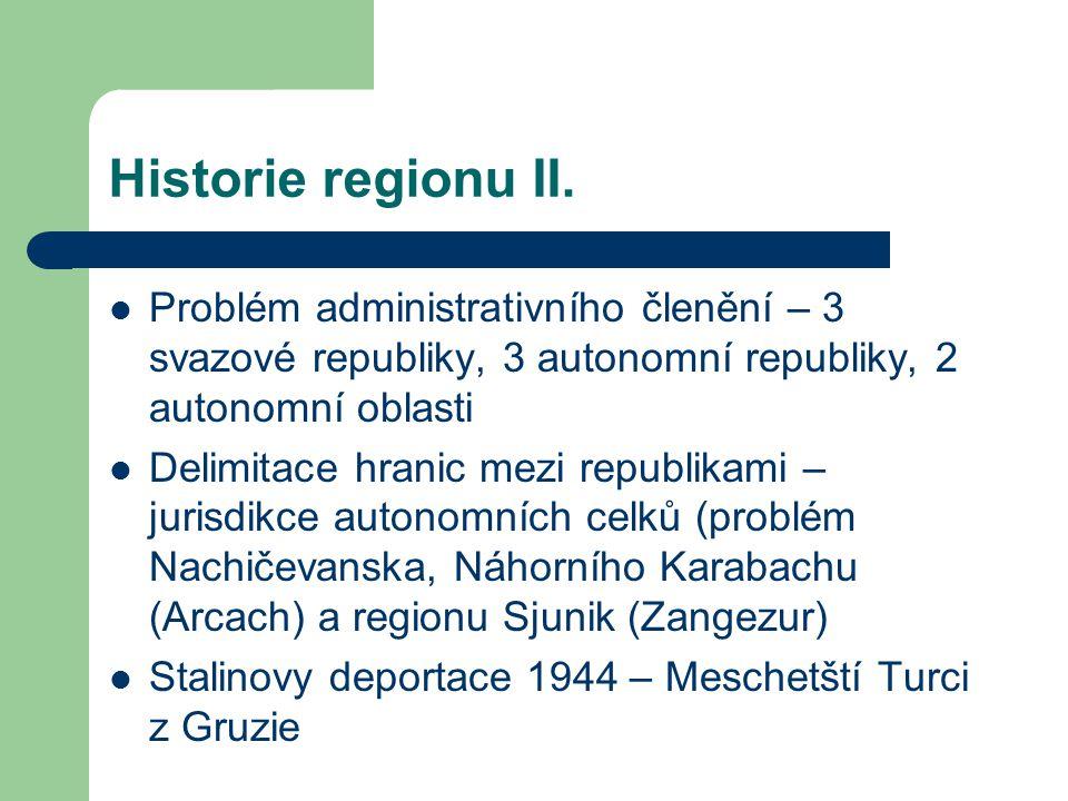 Historie regionu II. Problém administrativního členění – 3 svazové republiky, 3 autonomní republiky, 2 autonomní oblasti.